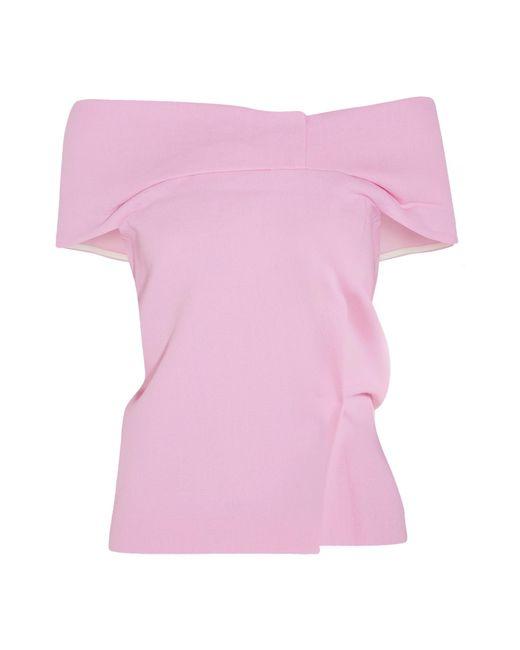 Roland Mouret   Pink Treback Off-the-shoulder Wool-crepe Top   Lyst