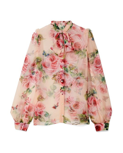 Dolce & Gabbana - Pink Pussy-bow Floral-print Silk-chiffon Blouse - Lyst
