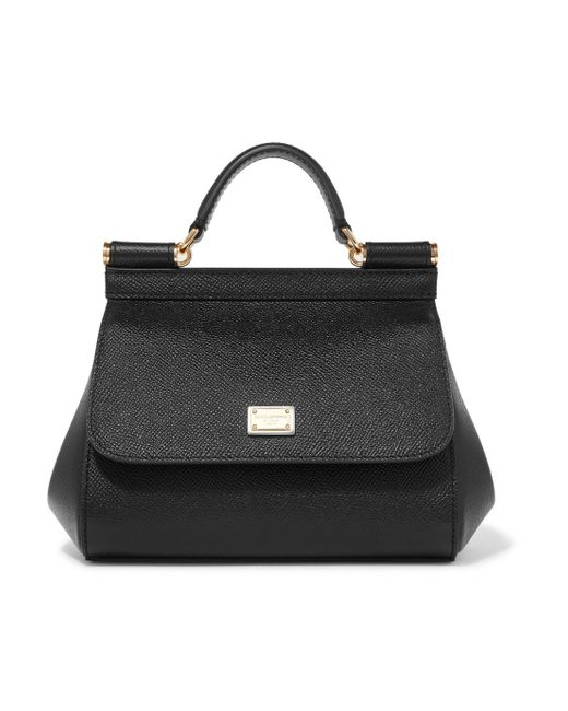 Dolce & Gabbana - Black Sicily Micro Textured-leather Tote - Lyst