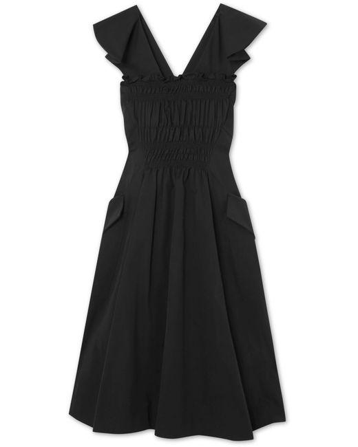Carven - Black Smocked Cotton-poplin Midi Dress - Lyst