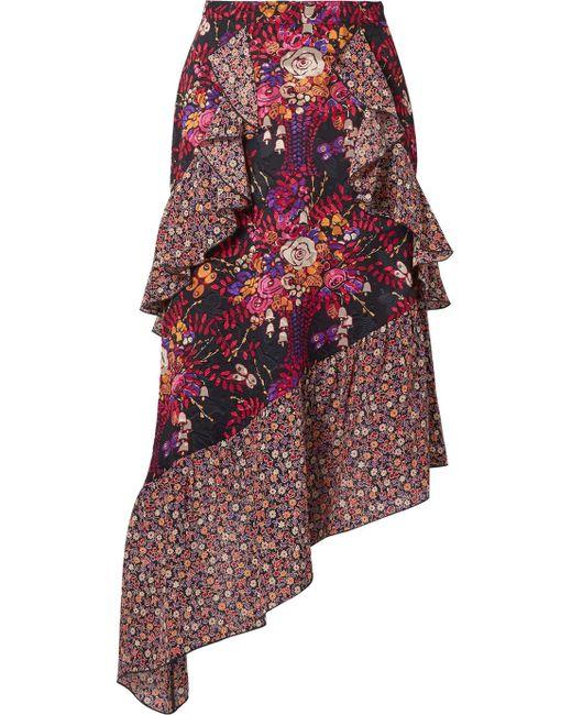 Anna Sui - Purple Butterflies And Bells Asymmetric Silk-jacquard Midi Skirt - Lyst