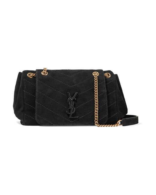 Saint Laurent - Black Nolita Medium Quilted Suede Shoulder Bag - Lyst ... 13fd8e10893d8