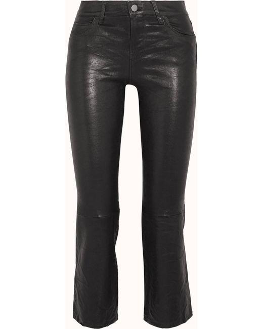 J Brand - Black Selena Cropped Leather Flared Pants - Lyst