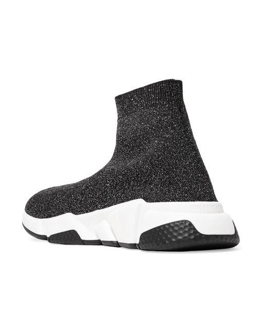 c09473cd6e7c ... Balenciaga - Black Speed Logo-print Metallic Stretch-knit High-top  Sneakers ...