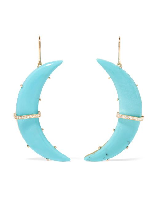 Andrea Fohrman | Metallic Crescent Moon 18-karat Gold, Turquoise And Diamond Earrings | Lyst