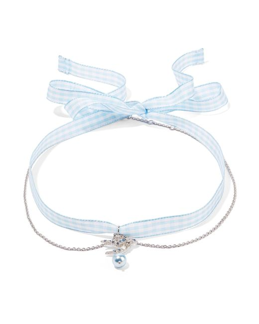 Miu Miu - Blue Gingham Cotton, Silver-tone, Crystal And Faux Pearl Choker - Lyst