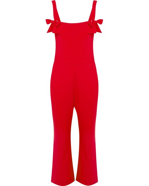 Rebecca Vallance - Red Havana Bow-embellished Cutout Crepe Jumpsuit - Lyst