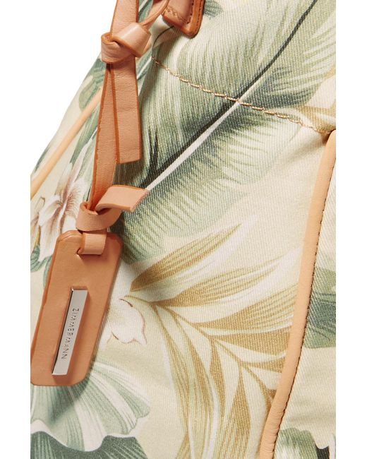 Tropical Palm Printed Canvas Tote - Gray green Zimmermann NWms7PsvP
