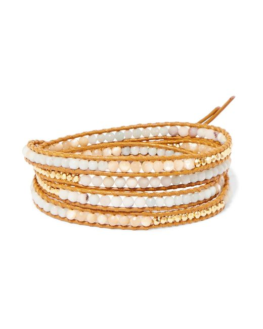 Chan Luu - Metallic Leather, Gold-plated And Amazonite Wrap Bracelet - Lyst