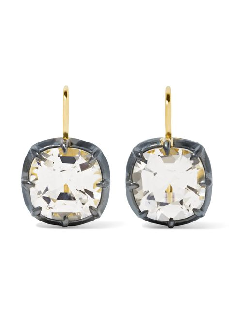 Fred Leighton - Metallic Collection 18-karat Gold, Silver-plated And Topaz Earrings Gold One Size - Lyst