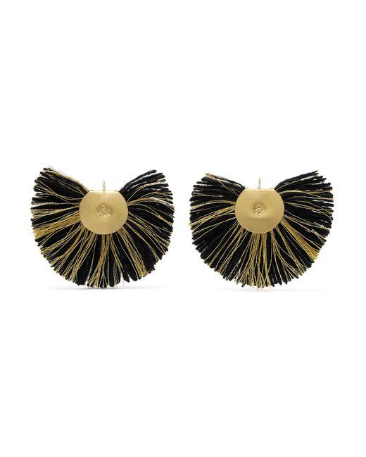Katerina Makriyianni - Black Hand Fan Gold-tone Wool Earrings - Lyst