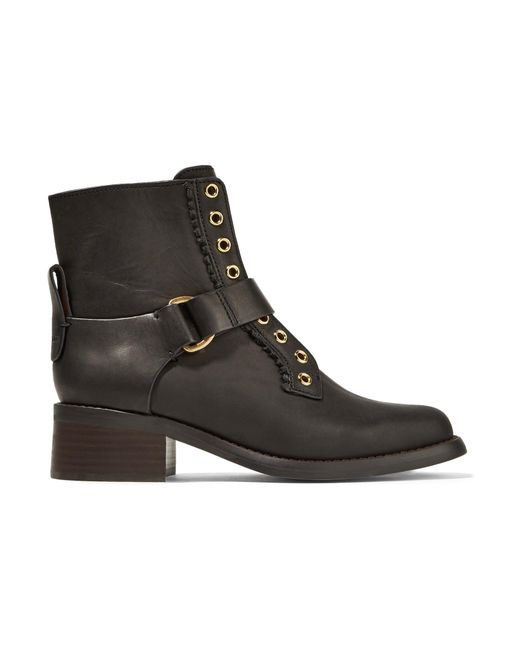 See By Chloé - Black Leather Ankle Boots - Lyst