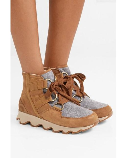 9d552d0a22dd40 ... Sorel - Brown Kinetic Waterproof Suede And Felt Ankle Boots - Lyst ...