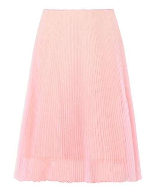 Prada - Pink Plissé-organza Skirt - Lyst