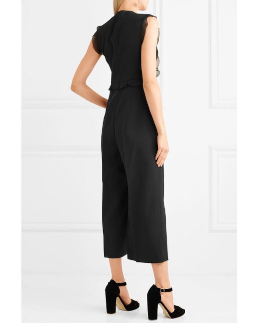 Ruffled Chiffon, Crepe And Lace Jumpsuit - Black Red Valentino
