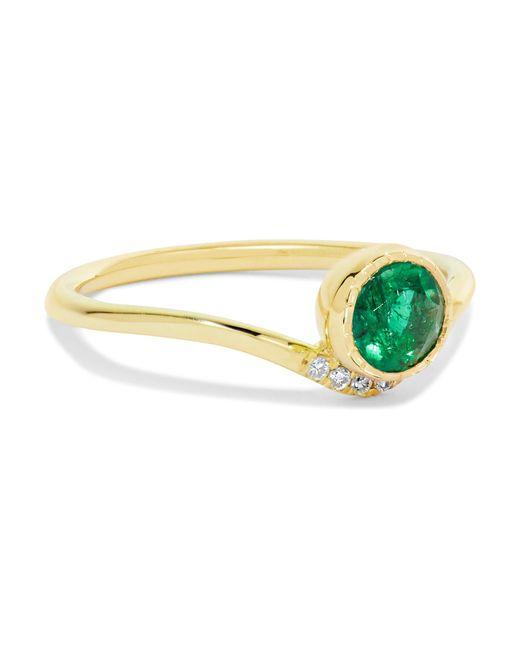 Jennie Kwon - Metallic Wave 14-karat Gold, Emerald And Diamond Ring - Lyst