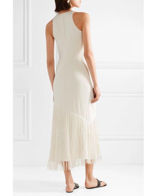 Fringed Draped Crepe De Chine Maxi Dress - Off-white Elizabeth & James qVbE7a40w