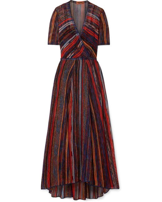 Missoni - Red Striped Metallic Crochet-knit Maxi Dress - Lyst