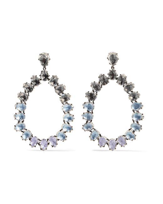 Larkspur & Hawk | Metallic Caterina Large Rhodium-dipped Quartz Earrings | Lyst