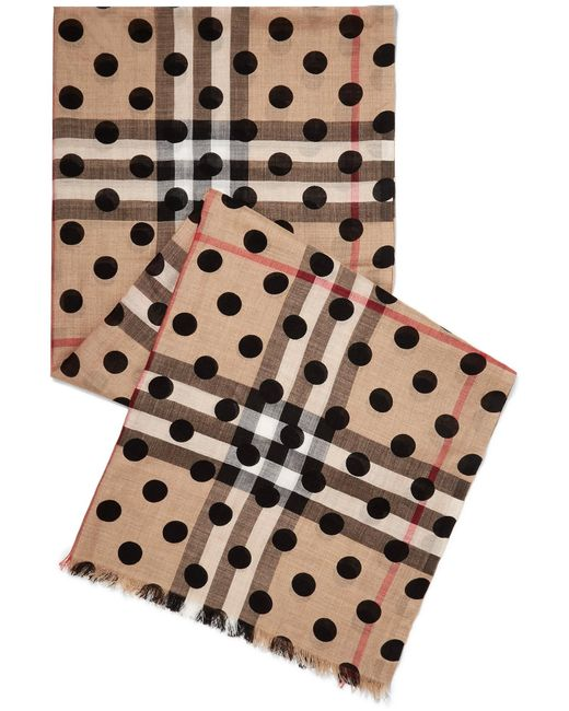 Burberry | Multicolor Polka-dot Checked Wool And Silk-blend Scarf | Lyst