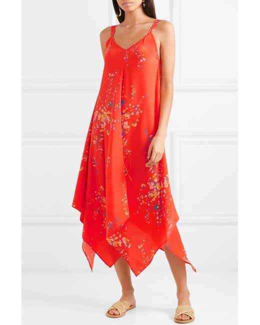 Crêpe De Soie Floral Selena-print De Robe De Chine - Jaline Corail lZW7zcvv