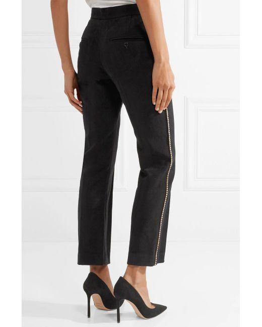 Philea Swarovski Crystal-embellished Felt Straight-leg Pants - Black Isabel Marant fmXc1x9w