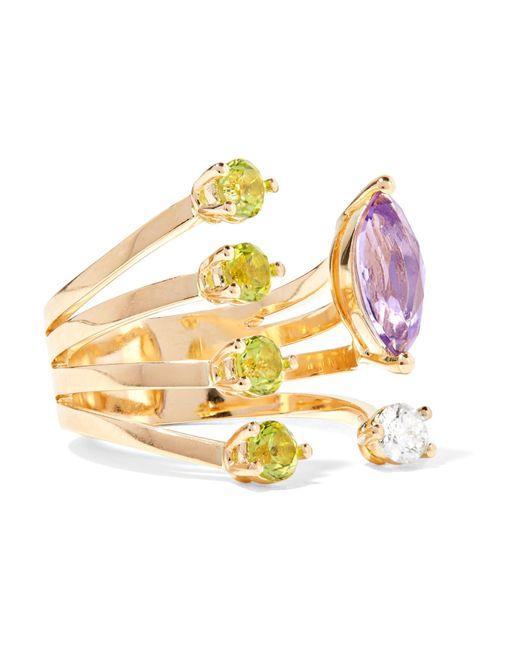 Delfina Delettrez - Metallic 18-karat Gold Multi-stone Ring - Lyst