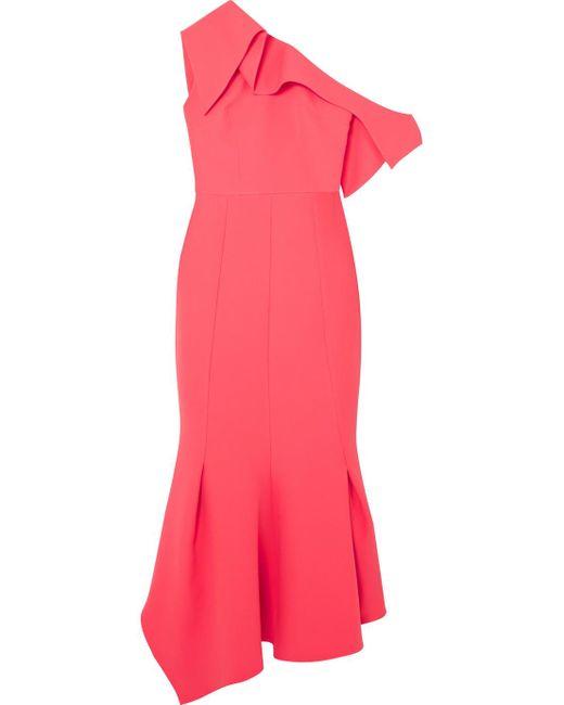 Safiyaa - Pink Juniper One-shoulder Paneled Stretch-crepe Midi Dress - Lyst