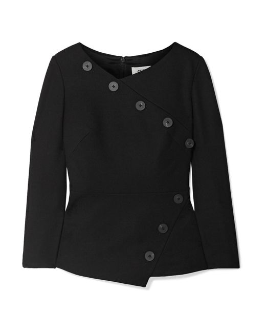 Cefinn - Black Button-embellished Stretch-crepe Top - Lyst