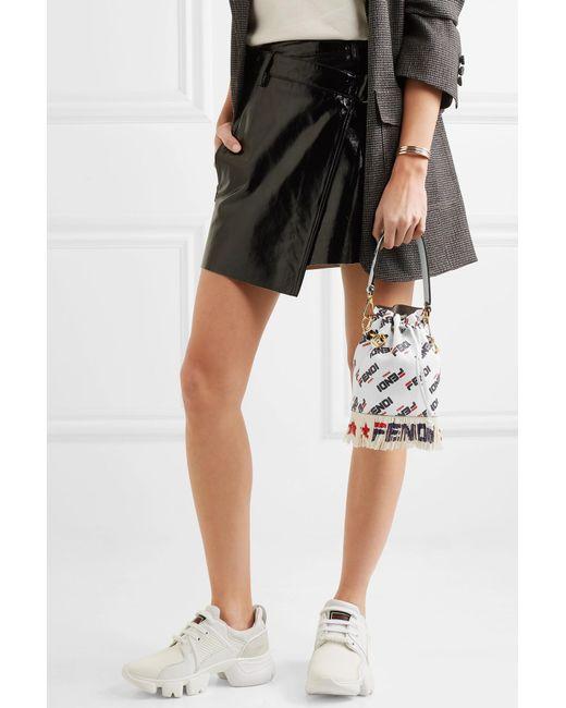 17ed60f2743 ... Fendi - White Logo-printed Fringed Leather Shoulder Bag - Lyst ...
