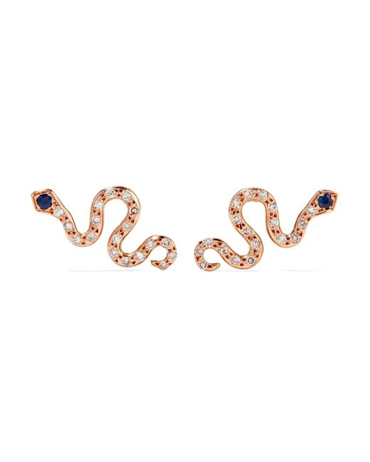 Ileana Makri - Metallic Little Snake 18-karat Rose Gold, Diamond And Sapphire Earrings - Lyst