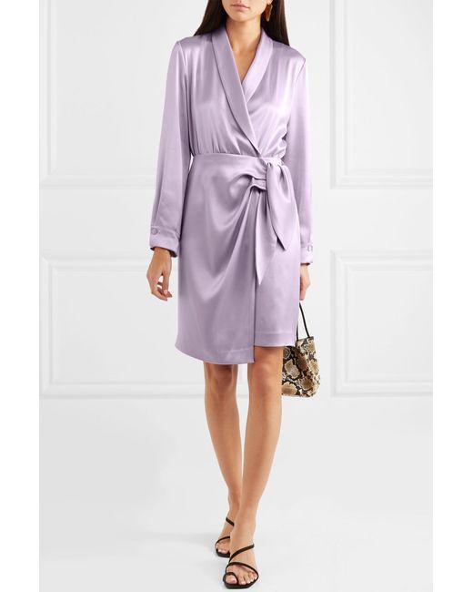 In Satin Dress Nanushka Purple Wrap Siwa Lyst TA0Owq