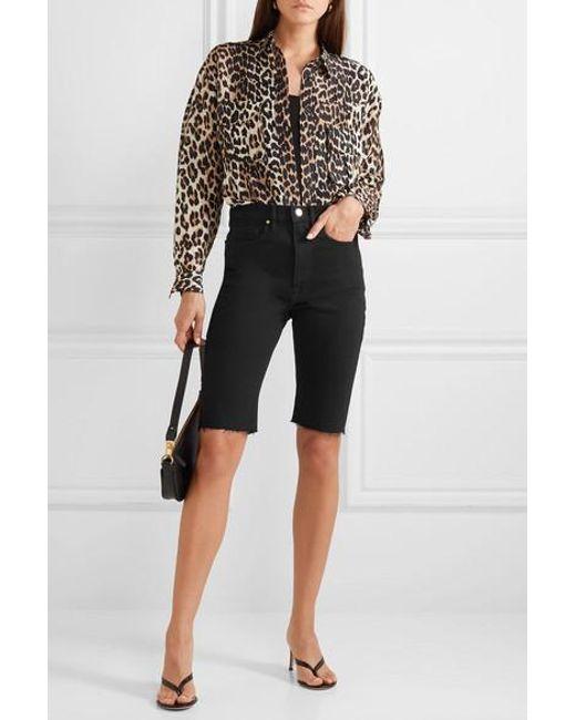 ff3ddd42b1 ... FRAME - Black Le Vintage Bermuda Frayed Denim Shorts - Lyst ...