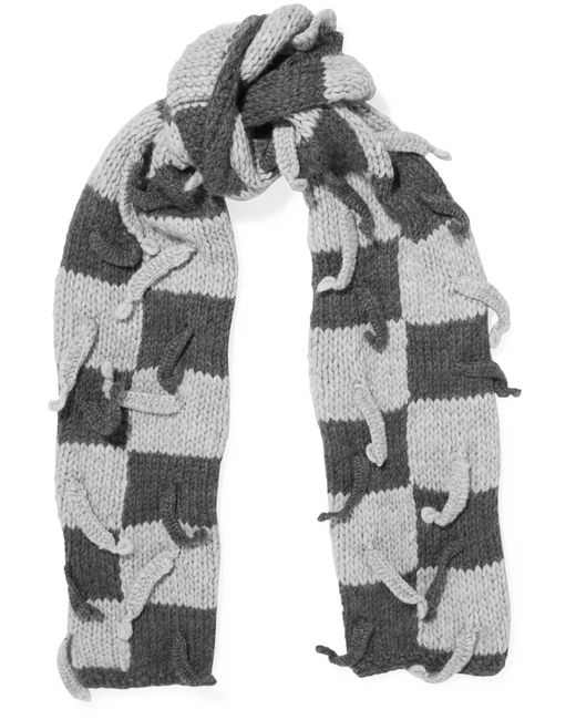 Loewe   Gray Embellished Checked Wool-blend Scarf   Lyst
