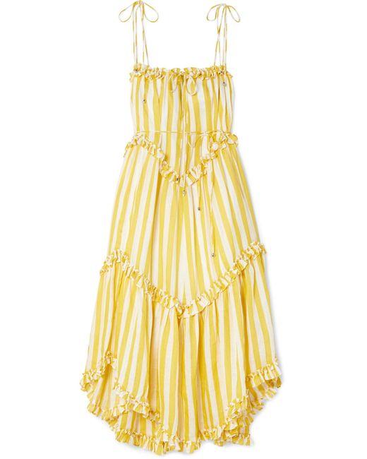 Zimmermann - Yellow Lumino Asymmetric Ruffled Striped Linen Midi Dress - Lyst