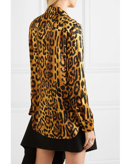 0421cf4ccf556 ... Adam Lippes - Brown Leopard-print Hammered Silk-crepe Shirt - Lyst ...