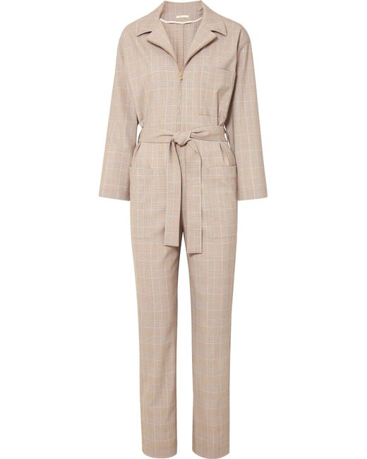 Maje - Natural Belted Checked Cady Jumpsuit - Lyst