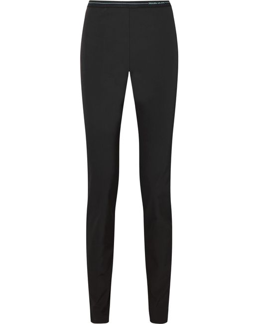 Prada - Black Stretch-twill Leggings - Lyst