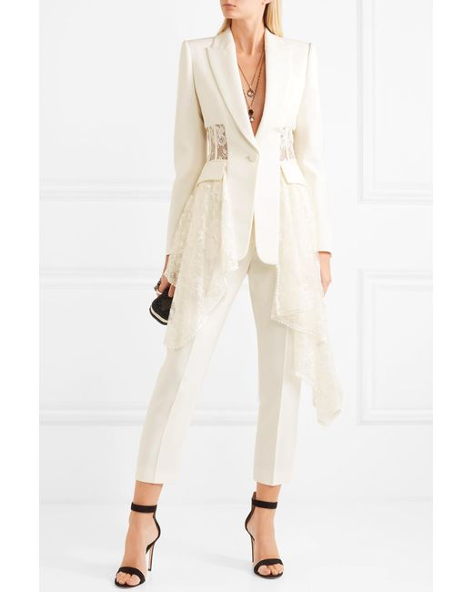 8971fd72e6 ... Alexander McQueen - White Asymmetric Wool-blend Crepe And Lace Blazer -  Lyst ...