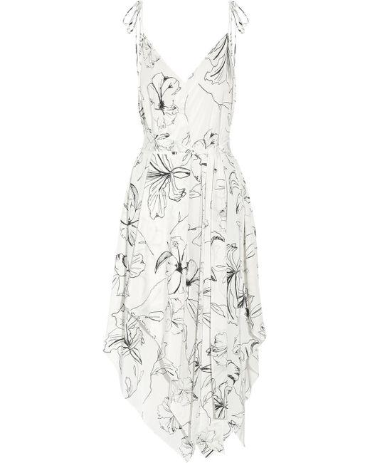 Diane von Furstenberg - White Asymmetric Printed Silk Crepe De Chine Midi Dress - Lyst