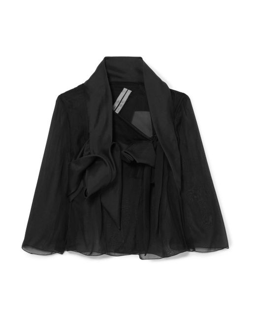 Rick Owens - Black Cropped Silk-organza Jacket - Lyst