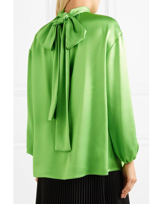 d0b732214824b ... Prada - Green Gathered Neon Silk-satin Blouse - Lyst ...