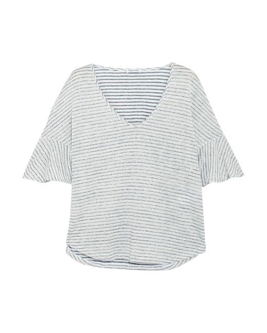 Splendid - Blue Striped Linen And Cotton-blend Top - Lyst