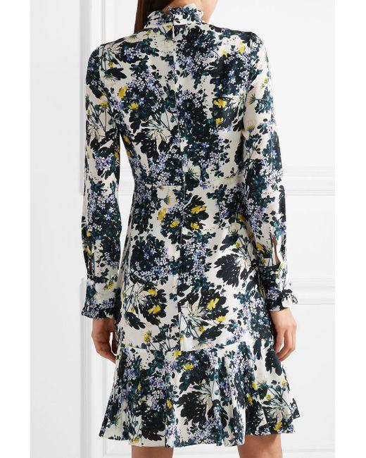 Bernette Button-detailed Floral-print Silk Crepe De Chine Dress - Blue Erdem zqHovZC3wz