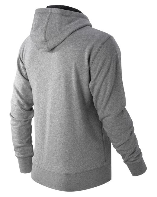 new balance pullover hoodie in gray for men athletic grey. Black Bedroom Furniture Sets. Home Design Ideas