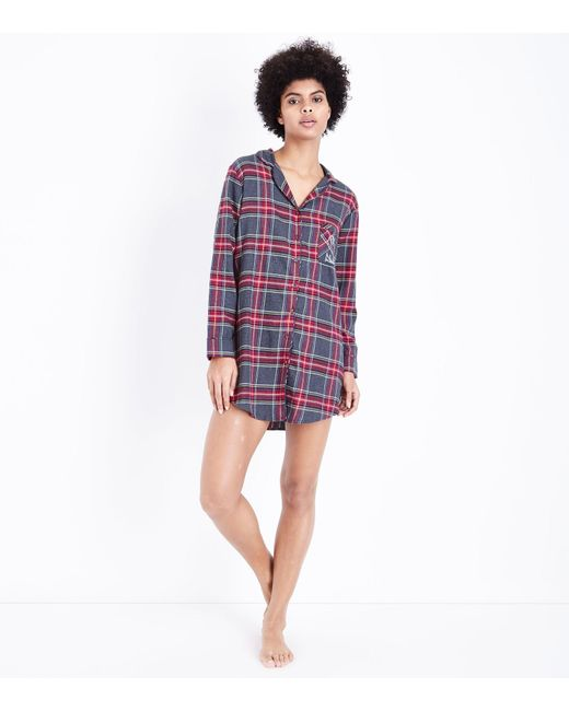 New Look | Gray Grey Check Collared Night Shirt | Lyst