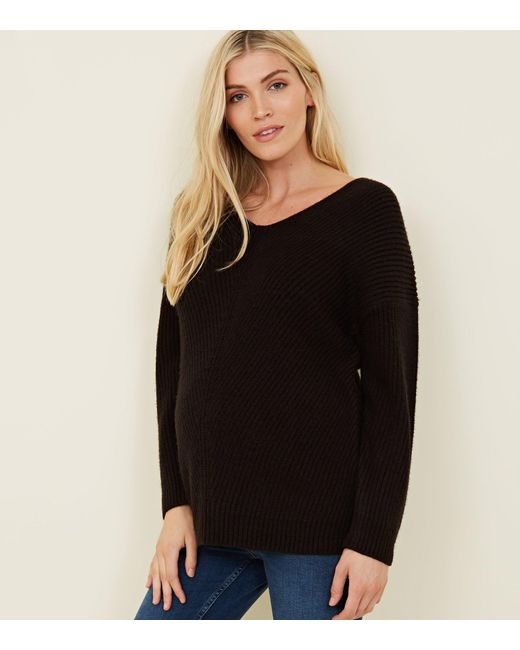 7140dc3cd9f New Look Maternity Black Lattice Back Jumper in Black - Lyst