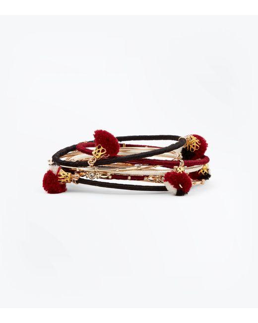 New Look - Red Burgundy Pom Pom Bangles Pack - Lyst