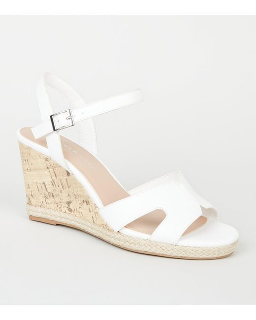 fcb4061490a New Look Wide Fit White Cork Effect Wedge Sandals in White - Lyst