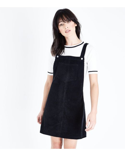 New Look   Black Corduroy Pocket Front Pinafore Dress   Lyst